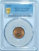 1895 Pcgs Ms63rb Red Brown Fs-303 S-20 Rpd Repunched Date Indian Cent