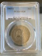 1865-s Seated Liberty Half Dollar 50c Pcgs Vf35 Super Original