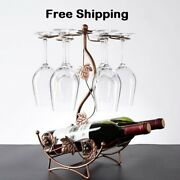 Maple Leaf Hollow Wine Rack Shelf Wine Bottle And Glass Cup Holder Stand Hanging