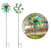 Windmill Vertical Stake Iron Art Wind Spinner Ornament For Outdoor Yard Lawn