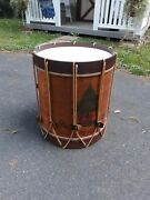 Decorative Antique Style Musical Drum End Table Live Free Or Die