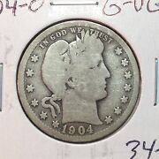 1904-o G-vg Barber Quarter Y And Part Lt  Better Date  Nice Coin
