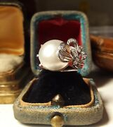 1950andrsquos Vintage Antique Palladium Mabe Pearl Diamond Cocktail Bow Ring Size 5