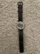 Genuine Authentic Fossil Leather Watch State Of Texas Map Landmarks Flag Compass