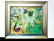 Rare Dominic Toming Cheng Signed Acrylic Painting Of Boy/chickens/bull With Coa
