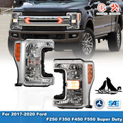 For 17-20 Ford F250 F350 F450 Super Duty Amber Headlights Left Side + Right Side
