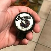 Vintage Iroquois Indian Head Beer Ball Tap Knob Handle Buffalo Ny Can Sign