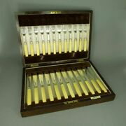 Antique Silver Fish Cutlery For 12 Pers. Incl. Box Walker And Hall Birmingham