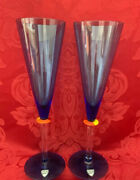 New Flawless Stunning Orrefors Art Glass Pizza Crystal Two Blue Champagne Flutes