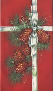Vintage Christmas Pine Cones Green Silver Pine Needles Deco Red Card Art Print