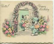 Vintage Garden Roses Arbor Trellis Archway Door B And W Dog Mail Greeting Art Card