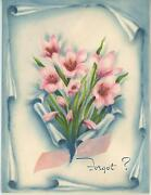 Vintage Soft Pastel Colors Pinks Blues Pink Lily Garden Bulb Flowers Card Print