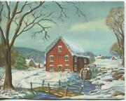 Vintage Christmas Grist Water Mill Stream Snow Rockport Ma Artist Greeting Card