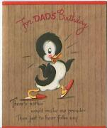 Vintage B And W Cartoon Duck Red Slippers Polka Dot Bowtie Greeting Card Art Print