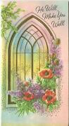 Vintage Church Window Purple Lilacs Red Anemones Garden Flowers Card Art Print