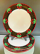 Mary Engelbreit--cameo Cherry--4 Dinner Plates--excellent Condition--buy It No
