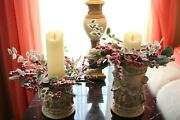 Set 2 Flocked Berry And Greenery Candle Rings Valerie Parr Hill Qvc Red
