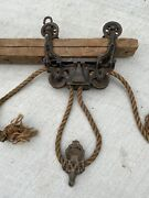 Antique F. E. Myers Hay Trolley Pat. 1884 On 9andrsquo Timber Beam - Great For Display