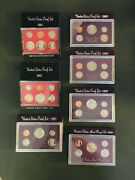7 Us Mint Proof Sets 198-82, 1984-87, And 1990. Uncirculated Coins