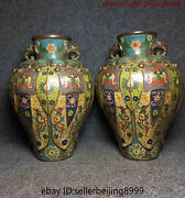 Old Pieces Collect Folk China Chinese Cloisonne Bronze Statue Vase Pair 0801