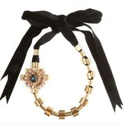 Mawi London Gold Tone Crystal Cluster Ribbon Necklace