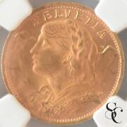 Switzerland 1947 20 Francs Brenelli Alps Girl Gold Coin Ngc Ms65
