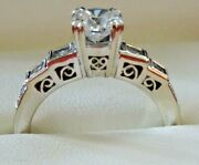 14kt White Gold Ladies Engagement Ring Approx 1 Ct Round Center Diamond Beauty
