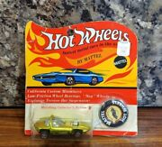 Noc Vintage 1969 Hot Wheels Redline Green Silhouette New On Card With Button