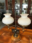 Vintage Patriotic Opal Glass Eagle Shade Double Student Lamp W/eagle Statue, 24