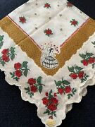 Vintage Red Cabbage Roses Lace Pattern Hankie Made In Philippines Gorgeous