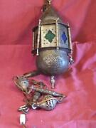Vintage Brass Middle Eastern Lantern Swag Lamp Chandelier Pierced Brass And Glass