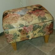 Vintage Wooden Foot Stool- Sewing Box Floral Upholstery Storage Space