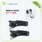 23000lbs Winch Rope 2/5x100ft Synthetic Line Grey Recovery Cable 10800 Kg 2pcs