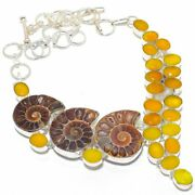 Ammonite Fossil Yellow Sapphire 925 Sterling Silver Jewelry Necklace 18 Rm-3141