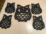 Vintage Retro Cast Iron Trivets 60/70's Kitchen Decor Mom And 4 Baby Owl Hot Plate