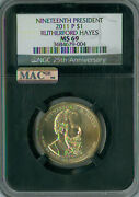 2011-p Rutherford Hayes Pres.dollar Ngc Mac Ms 69 Retro Finest Pop-4 Spotless.
