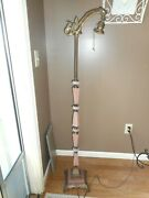 Aladdin Electric Floor Lamp Pink Akro Agate Brass Antique Excellent