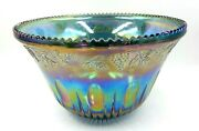 Vintage Indiana Glass Blue Iridescent Carnival Glass 12 Fruit Style Punch Bowl