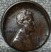 1917-s Xf/au Off Center Lincoln Wheat Cent Idgg846
