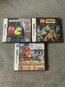 Lot Of 3 Nintendo Ds Complete Games Mario Sonic Star Wars Pacman With Manuals
