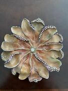 New Jay Strongwater Enamel Crystal Flower Dish/ Small Tray