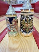 2 Beer Steins 1 From New Orleans And One From Golden Crown Bar Germany With Lids