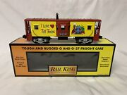 ✅mth Railking I Love Toy Trains Bay Window Lighted Caboose 30-7754 O Gauge Train