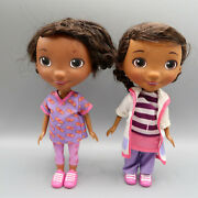 """Disney 2 Doc Mcstuffins 8"""" Doll Toy Doctor White Coat And Vet Work By Just Play"""