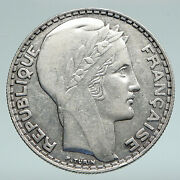 1933 France Authentic Large Silver 20 Francs Vintage French Motto Coin I91497