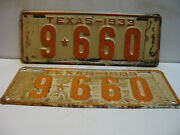 1933 Texas License Plate  9 - 660 Pair    Long And Narrow  Vintage As5161