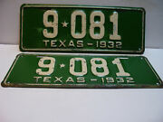 1932 Texas License Plate  9 - 081 Pair   Long And Narrow  Vintage As5161