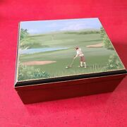 Handpainted Cigar Humidor Golf Scene Cherry And Cedar Gift For Dad