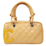 Cambon Quilted Cc Mini Bowling Hand Bag 10168650 Beige Lambskin 71116