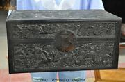 Old China Black Rosewood Wood Carved Dragon Phoenix Treasure Chest Storage Boxes